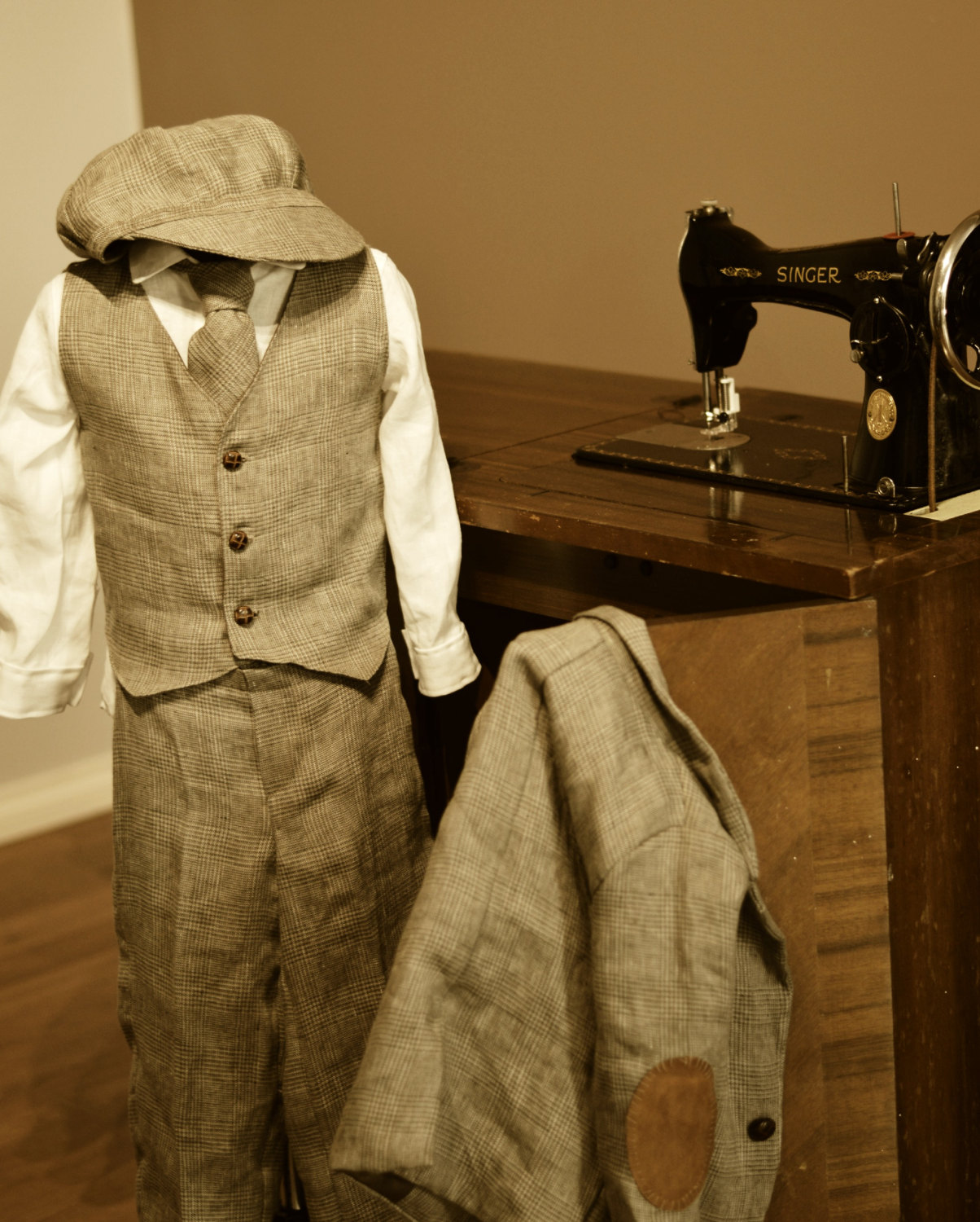 Boys Suit , 6 piece, Italian linen. Jacket with genuine leather elbow  patches, Vest, Linen shirt, Pants, Tie and Bakerboy style Hat