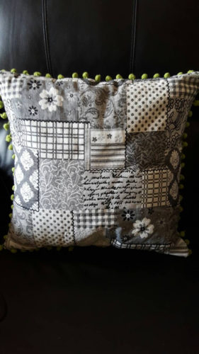 Cushion Cover, grey, black white. Floral , pompom trim