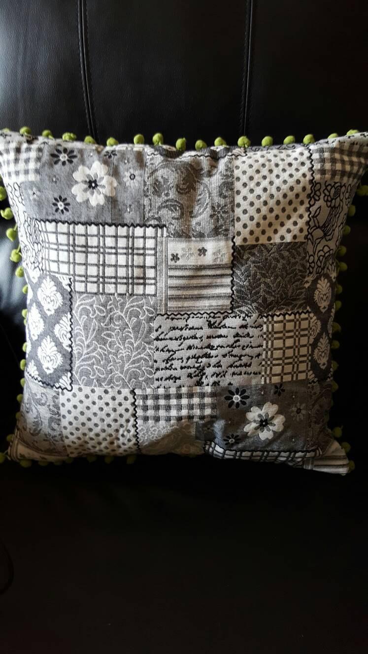 how to make a cushion cover with pom pom trim