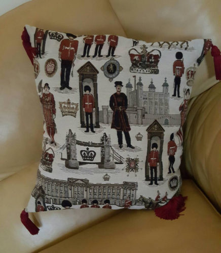 Cushion cover, with tassles England, British,  beefeater, buckingham palace, guards, royal, horses. Tower bridge