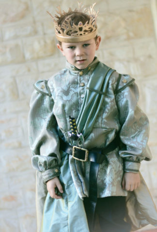Game of Thrones - King Joffrey / Tommen Costume , hand carved leather crown.