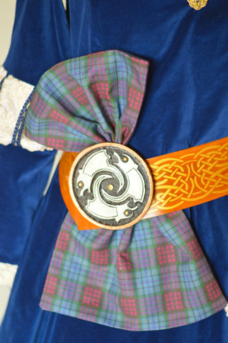 Merida Belt, Buckle and sash  - hand carved from genuine leather