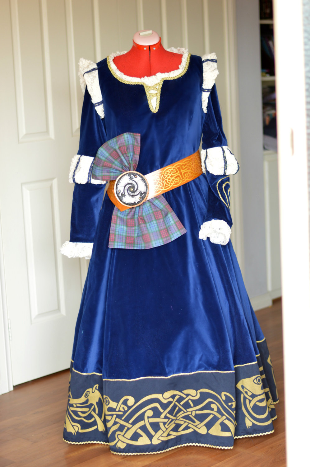 Merida / Scottish Princess, Brave,  Costume Includes Gown ,Cape,  Belt, Buckle and Sash