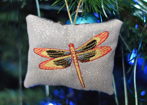 Outlander, Dragonfly in Amber, Christmas Tree Ornament, dragonfly embroidered, xmas decoration