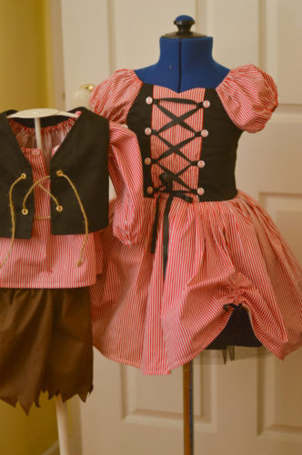Pirate Party Dress with skirt gather and laced bodice - boys costume sold seperately