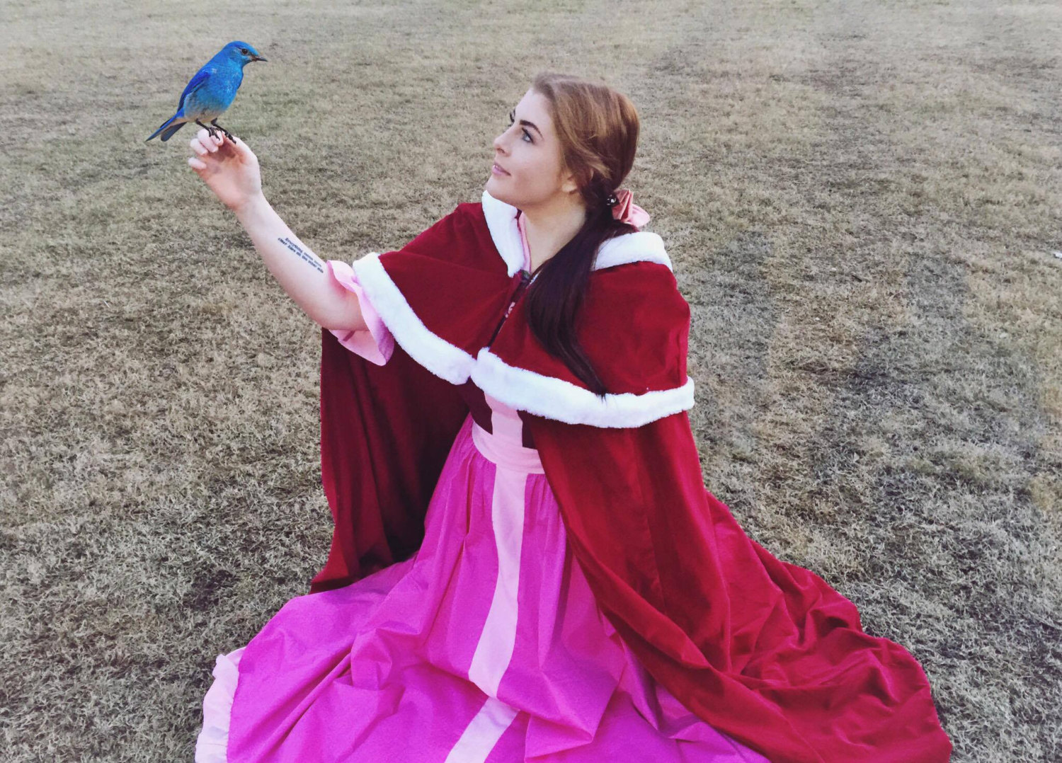Winter Belle Pink Dress And Cape Beauty The Beast Costume